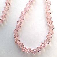 """Хрустальная бусина, """"кристал"""", розовая, 6 мм"""
