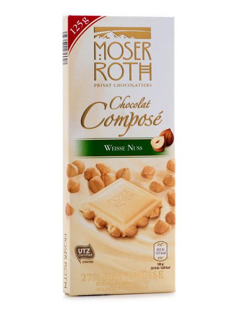 Белый шоколад Moser Roth Chocolat Compose Weisse Nuss с фундуком, 125 гр.