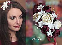 """""""Элегантный бордо"""" обруч-веночек с цветами для девушки, фото 1"""