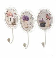 Настенный крючок-вешалка 3 вазы цветов