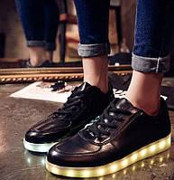 Женские черные светящиеся LED - кроссовки , фото 1