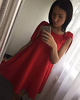 Платье сарафан с брителькими-завязками, красное
