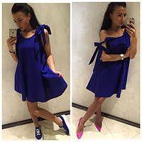 Платье сарафан с брителькими-завязками, синее