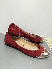 Балетки женские текстильные на плоской подошве цвета спелой вишни золотой носок Trafaluc, фото 2
