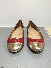 Балетки женские текстильные на плоской подошве цвета спелой вишни золотой носок Trafaluc, фото 3