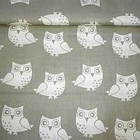 Ткань с белыми совами на сером фоне, фото 1