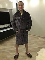 Именной халат с вышивкой махровый премиум серый