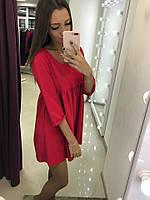 Платье с завышеной талией, красное