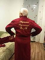 Именной халат с вышивкой махровый премиум бордовый