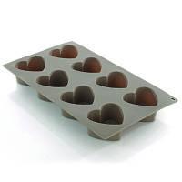 Форма для выпечки, силикон (8 сердечек)