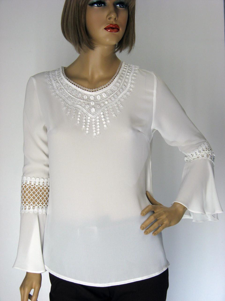 Біла нарядна шифонова блузка  Siradasi