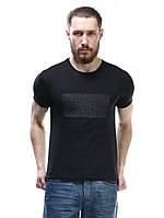 Черные футболки мужские с вышивкой на груди F-404-1