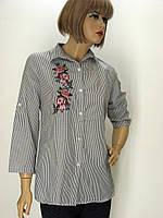 Блузка- рубашка в полоску с вышивкой Red Queen