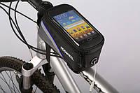 """Сумка Roswheel 12496, для смартфона 5.5"""" черная с синей полоской"""