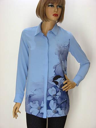 Голуба блузка з квітковим принтом La Faba, фото 2