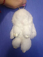 Брелок кролик белый / меховой брелок / брелок зайчик