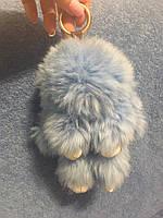 Брелок кролик голубой / меховой брелок / брелок зайчик 18 см