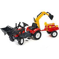 Детский трактор на педалях с прицепом и двумя ковшами Falk RANCH - 2052CN