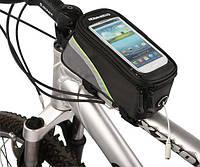 """Сумка Roswheel 12496, для смартфона 5,5"""" черная с зеленой полоской"""