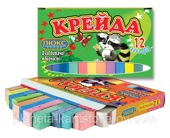 Мел 12 цветов квадратный (70х15х10) КК-912