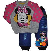 """Яркий детский костюм (батник , джинсы) """"Funny Minnie Mouse"""" , для девочки от 6-12-18 мес"""
