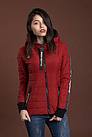 Женская молодежная демисезонная куртка, марсала, S, M, L, XL размеры