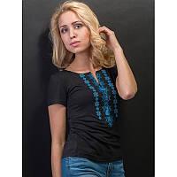 Женская блузка из хлопка вышиванка  больших размеров  СНІЖИНКА блакитна  в размерах  44, 46, 48, 50, 52