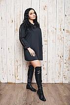 """Короткое платье-рубашка свободного кроя """"Reez"""" с кружевом и длинным рукавом (большие размеры), фото 3"""