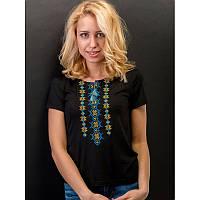 Женская блузка из хлопка вышиванка  больших размеров  СНІЖИНКА жовто блакитна  в размерах  44, 46, 48, 50, 52 ,   купить