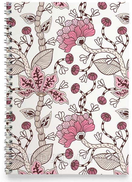 Блокнот Тетрадь Какие-то Розовые Цветы (растения, цветы, флора, узоры)