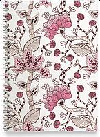 Блокнот Зошит Якісь Рожеві Квіти (рослини, квіти, флора, візерунки), фото 1