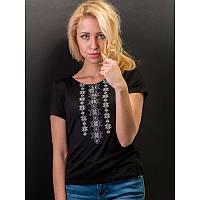 Женская блузка из хлопка вышиванка  больших размеров  СНІЖИНКА сіра  в размерах  44, 46, 48, 50, 52