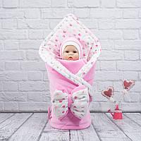 """Осенний Конверт-одеяло + шапка """"Princess"""" розовый велюр"""