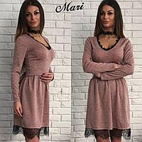 Платье теплое из ангоры с кружевом и открытым декольте мини 3 цвета 2SMmil1204