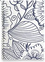Блокнот Тетрадь Синие Цветы (растения, цветы, флора, узоры)