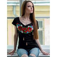 Женская блузка из хлопка вышиванка  больших размеров  МУЛЬТИК в размерах  44, 46, 48, 50, 52