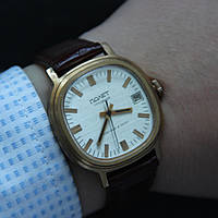 Полет позолоченные механические часы СССР, фото 1