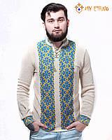 Мужская вязаная рубашка УПА желто-голубая, фото 1