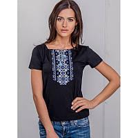 Женская блузка из хлопка вышиванка  больших размеров  СИНІЙ ОРНАМЕНТ в размерах  44, 46, 48, 50, 52