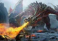 Картина 60х40см Скайрим Дракон