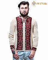 Мужская вязаная рубашка Влад красный, фото 1