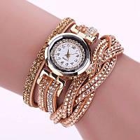 Женские часы со стразами на длинном ремешке (Gold)
