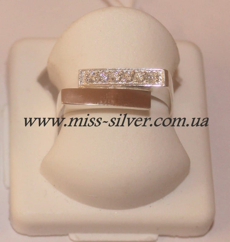Кольцо серебро с золотом Глория