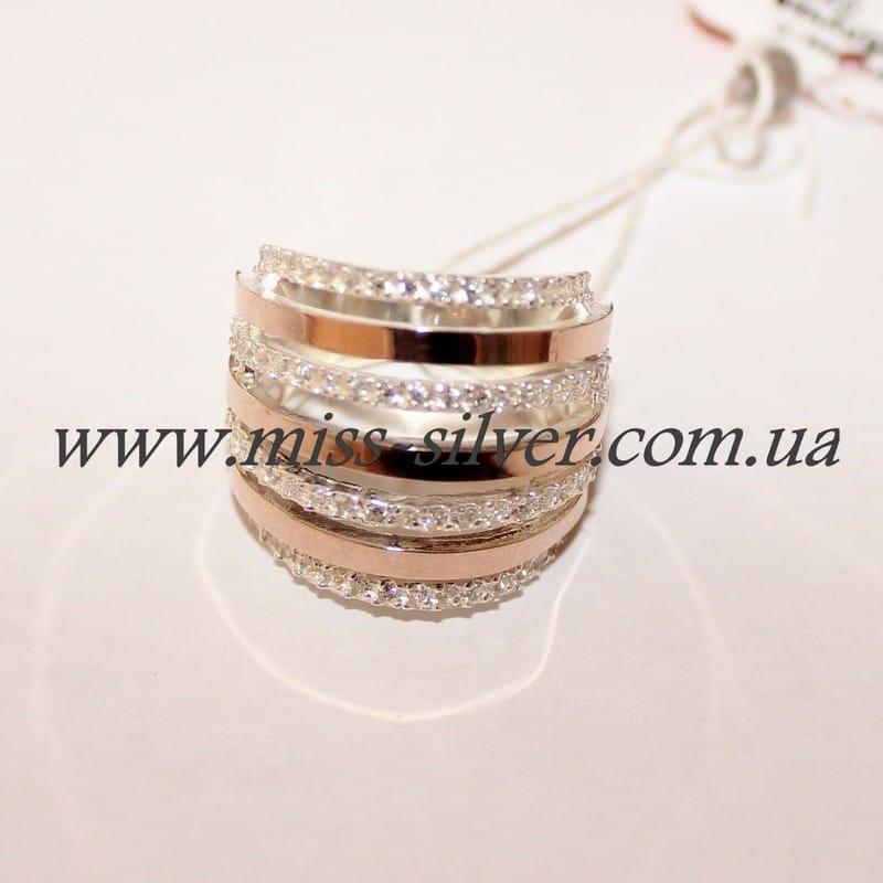 Кольцо серебро с золотом Бьянка