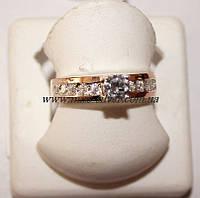 Кольцо из серебра с фианитами и золотом Ненси