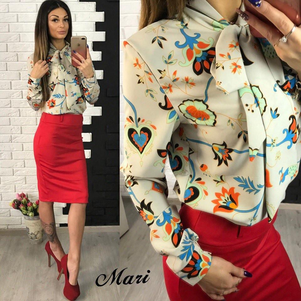 fb5a8e70e70 Костюм женский рубашка в цветочный принт и юбка карандаш 2 расцветки  2Kmil343