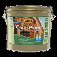 Декоративно-защитное средство для древесины Aura ColorWood Aqua (орех) 2,7л, фото 1