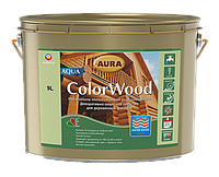 Декоративно-защитное средство для древесины Aura ColorWood Aqua (белый) 9л, фото 1