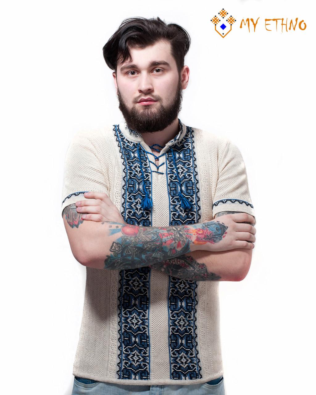 Мужская вязаная рубашка Руслан темно-синий (короткий рукав)