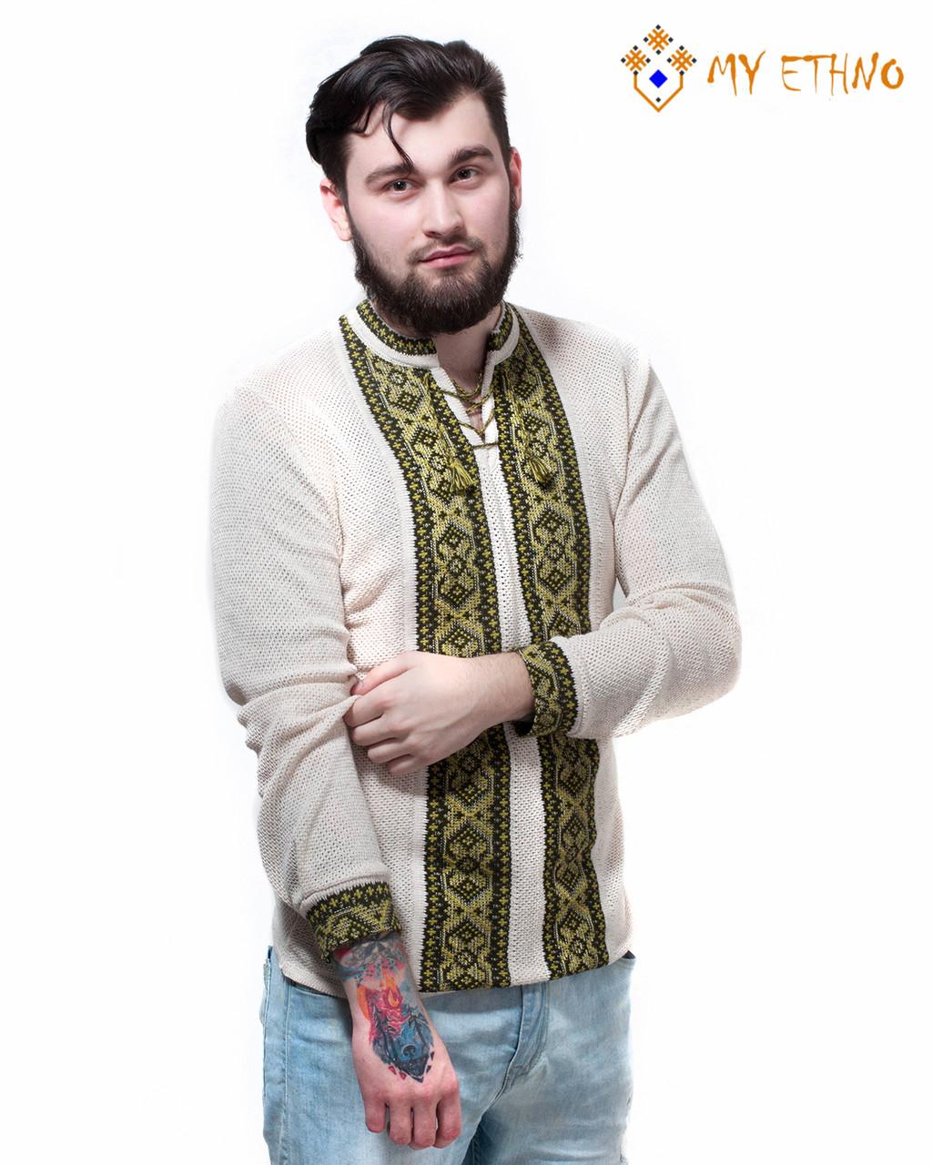 Мужская вязаная рубашка Крестики зеленые